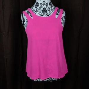 Flying tomatoes hot pink double strap tank size s